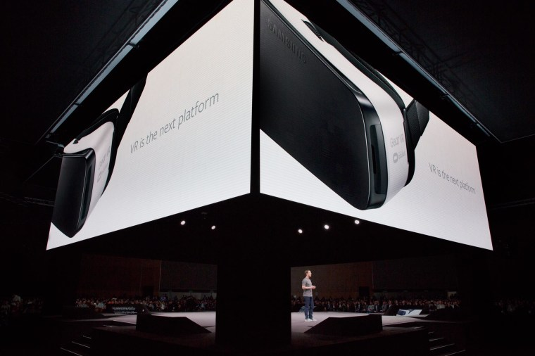 Mark Zuckerberg speaking at the Samsung Galaxy S7 launch event in Barcelona, Spain