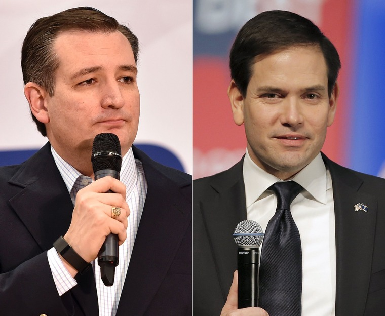 Image: A combination image of Republican presidential candidates Ted Cruz (L) and  Marco Rubio