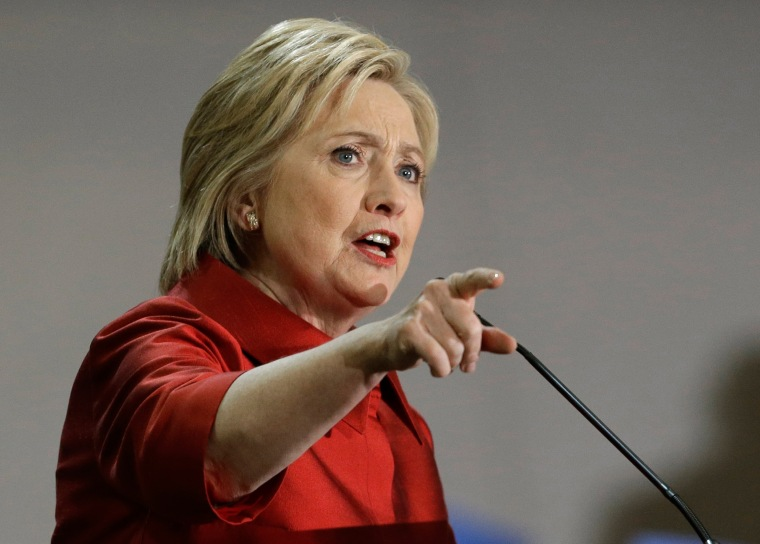 Image: Democratic presidential candidate Hillary Clinton speaks at a rally