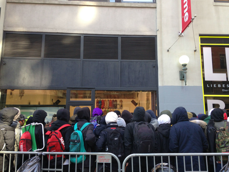 The line in front of the New York Supreme ahead of the release of the brand's 2016 Spring/Summer collection.