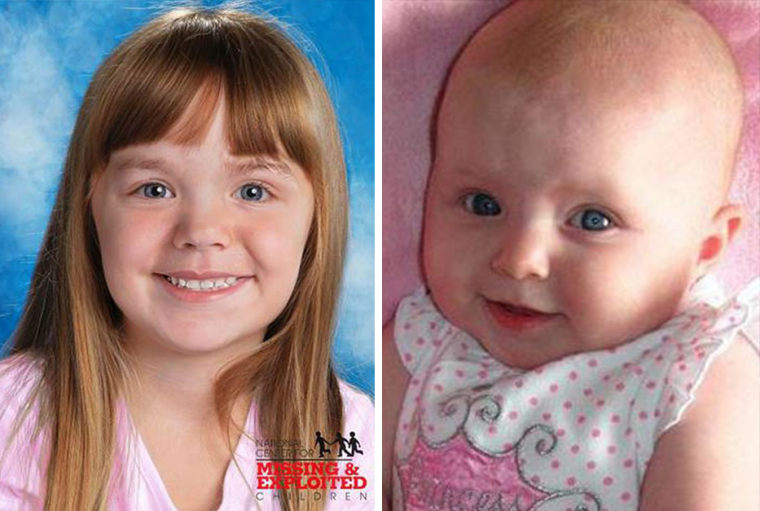 An age-progressed photo of Lisa Irwin at age five beside a photo taken of her before she disappeared in 2011.