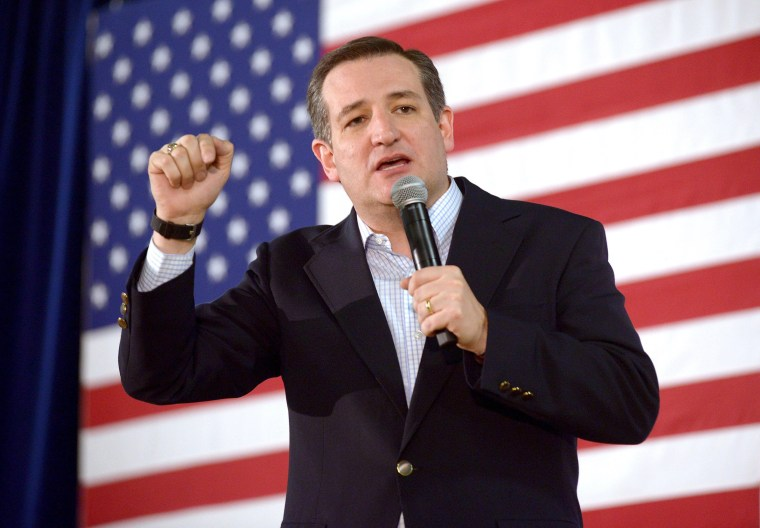Image: Republican Presidential candidate Ted Cruz speaks in Reno, Nevada.