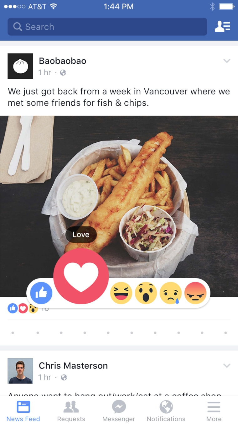 Image: Facebook users will now be able to Wow, Haha or Love photos and status updates