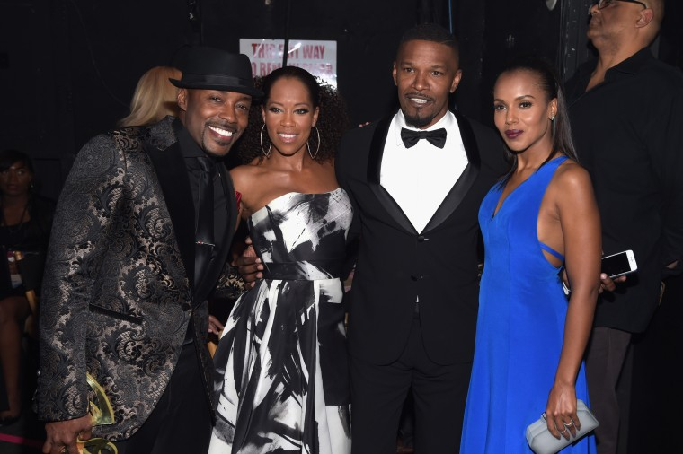 BEVERLY HILLS, CA - FEBRUARY 21: (L-R) Honoree Will Packer, actors Regina King, Jamie Foxx, and Kerry Washington pose backstage at the 2016 ABFF Awards: A Celebration Of Hollywood at The Beverly Hilton Hotel on February 21, 2016 in Beverly Hills, California. (Photo by Jason Kempin/BET/Getty Images for BET)