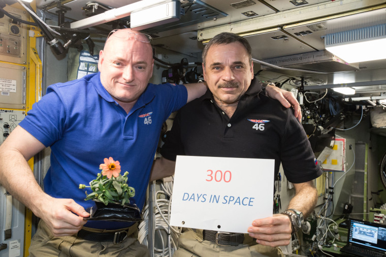 One-year mission crew members Scott Kelly of NASA (left) and cosmonaut Mikhail Kornienko celebrate their 300th consecutive day in space on Jan. 21. The pair will spend a total of 340 days aboard the International Space Station as scientists seek to understand what happens to the human body while in microgravity for extreme lengths of time.
