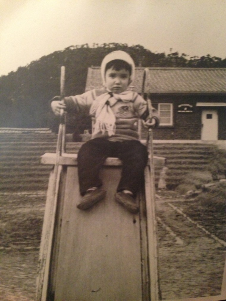 A photograph of Bella Siegel-Dalton as a child in South Korea in 1966, before her adoption by an American family.