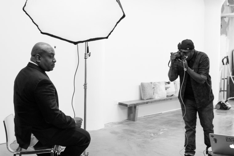 Jerome A. Shaw gets the perfect shot of Reggie Ossè paying homage to Paul Robeson.