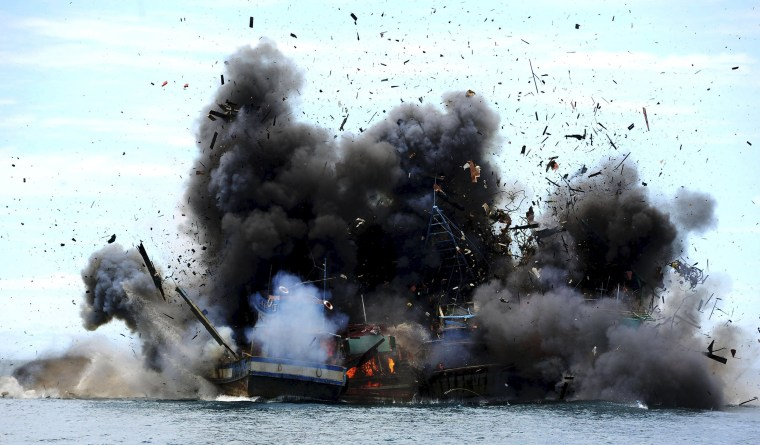 Image: Four of eight confiscated Vietnamese fishing boats are destroyed in Mempawah Regency, West Kalimantan, Indonesia