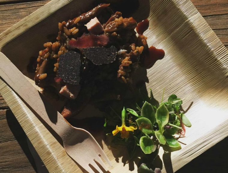 A delicious paella dish with duck confit and morel mushrooms, foie gras and duck tongue from Chef Jose Andrés at the South Beach Wine and Food Festival, Thursday, Feb. 25, 2016 in Miami, FL.  year.