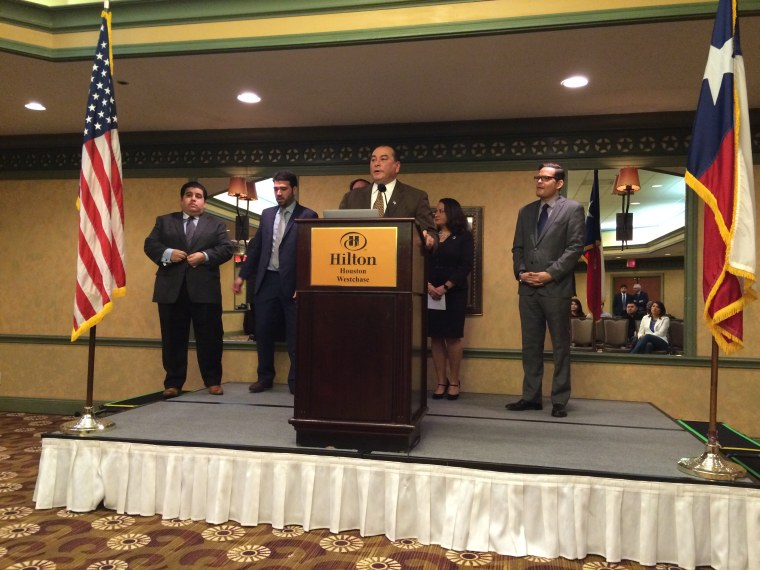 Caption: Massey Villarreal, a Houston businessman who founded Latino Conservative Leaders, speaks about the group's endorsement of Marco Rubio for the 2016 GOP presidential nomination on Feb. 26, 2016.