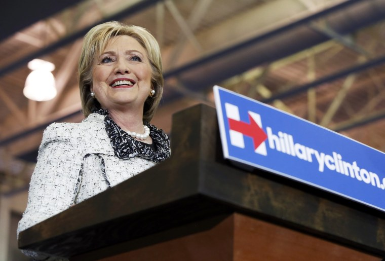 Image: Clinton speaks to supporters at a primary night party in Columbia