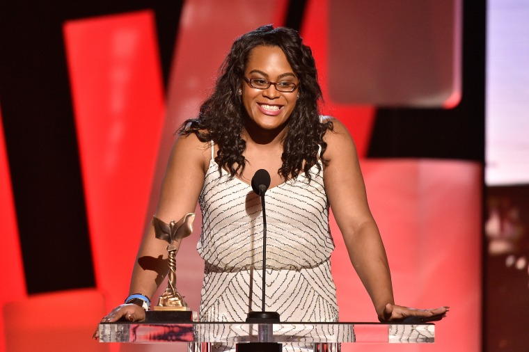 "Mya Taylor poses with the award for best supporting female for ""Tangerine"" at the Film Independent Spirit Awards."