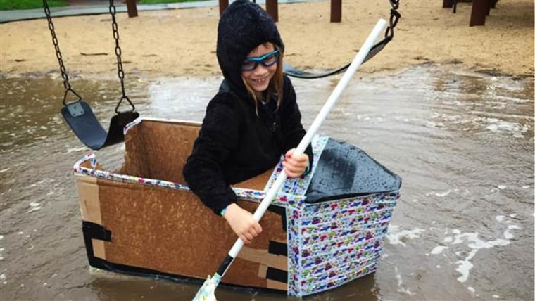 Play hard! Get messy! Author and blogger Mike Adamick's daughter explores the world in a boat of her own creation.