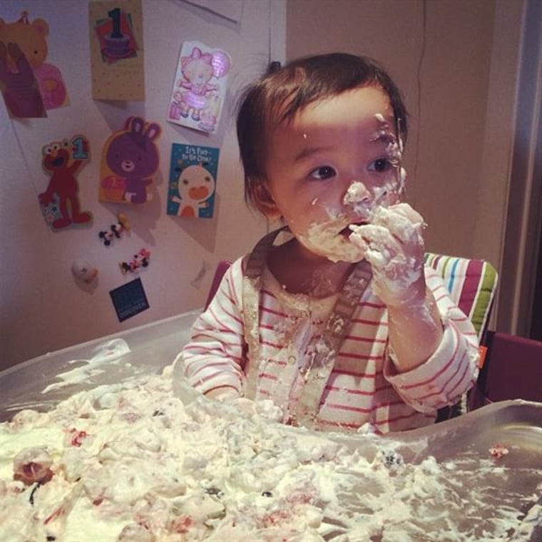 Nola Ying rang in her first birthday with this whipped cream cake.