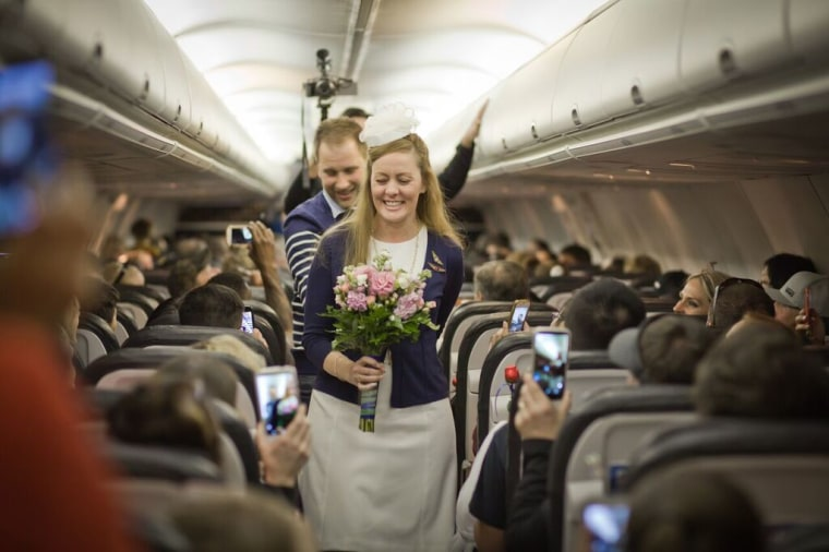 Kristy Stratton and Jim Larsen got married on an Alaska Airlines flight