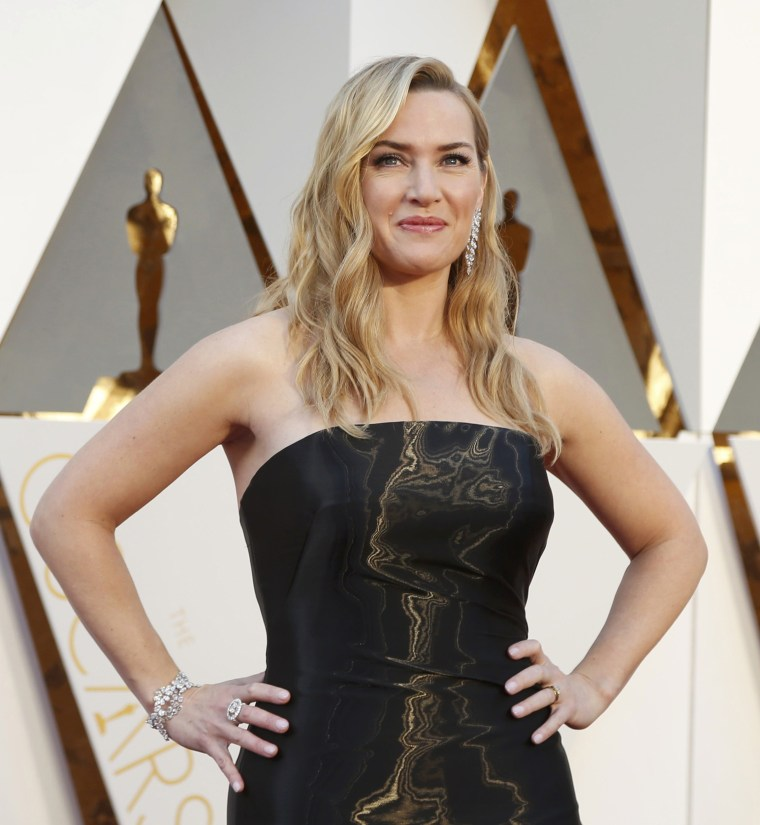 """Image: Kate Winslet, nominated for Best Supporting Actress for her role in """"Steve Jobs,"""" arrives at the 88th Academy Awards in Hollywood"""