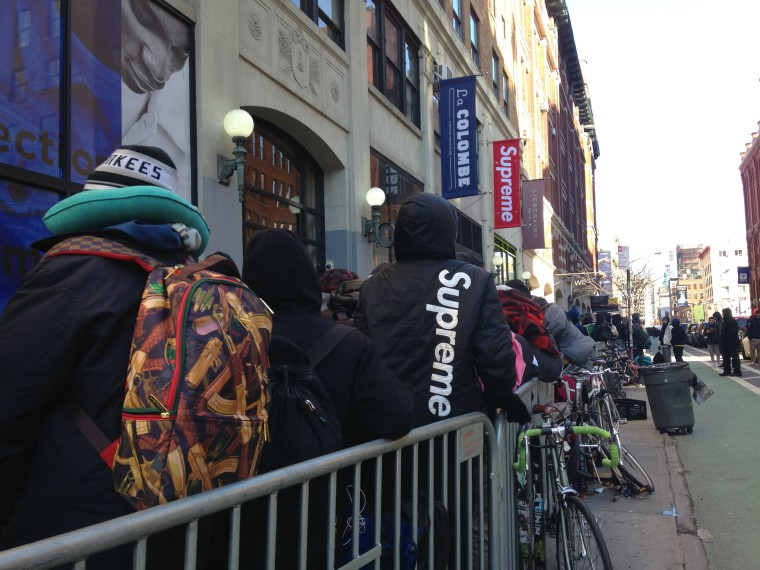 Crowds in front of the Supreme store in New York City ahead of the release of Supreme's 2016 Spring/Summer collection.
