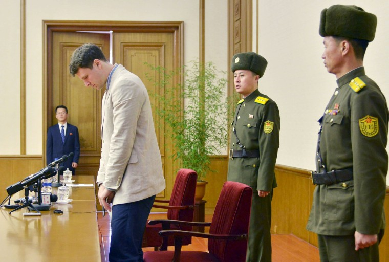 Image: Otto Warmbier, who has been detained in North Korea since early January, appeared on state media Monday.