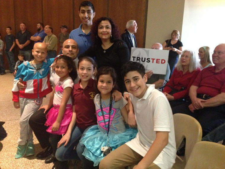 The Rodriguez family went together to a rally by Sen. Ted Cruz in San Antonio. In the back are Marco Jr. and Cecilia. In the front, from left, America, Marco, Athena (on lap), Victoria, Libertad (in Superman shirt) and Caesar.