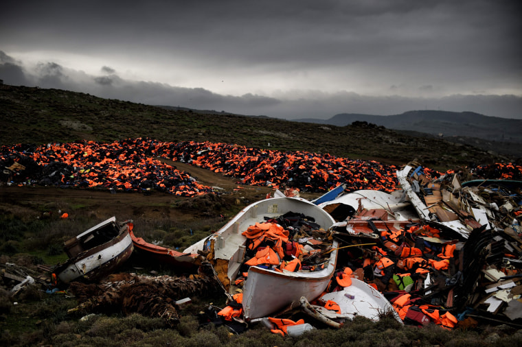 Image: Lifejackets dumped in Mithimna, Greece