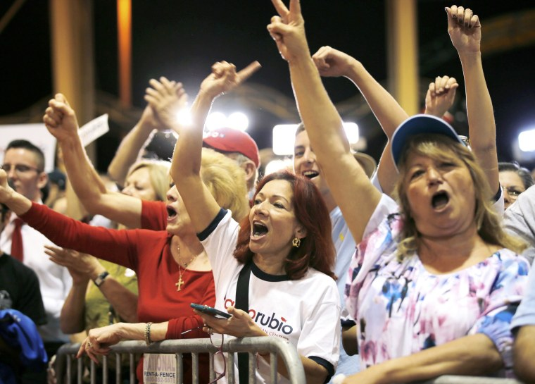 Image: Supporters of Republican U.S. presidential candidate Marco Rubio react to the Super Tuesday primary and caucus voting results at a campaign rally in Miami, Florida