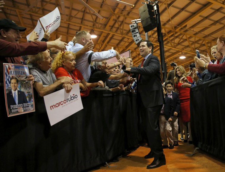 Image: Republican U.S. presidential candidate Senator Marco Rubio arrives at a campaign rally after Super Tuesday primary and caucus voting results were announced  in Miami