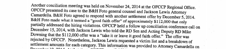 An excerpt of court documents showing B&H's offer of a good faith settlement.