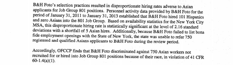 An excerpt of court documents detailing B&H's failure to hire Asian shipping workers.