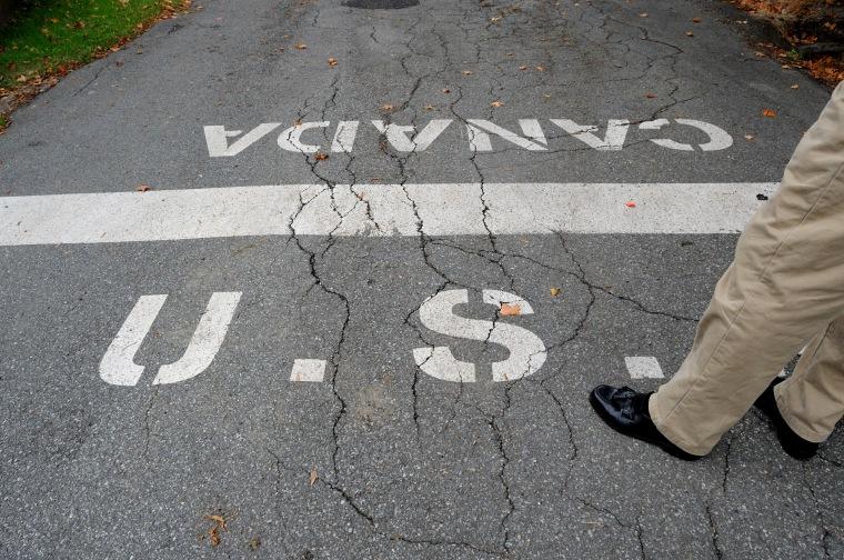 Image: U.S.-Canadian border in Derby Line, Vt