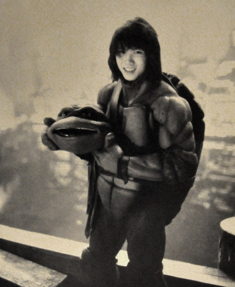 """Steven Ho, in his Donatello costume. He performed as stunt double for the charter in """"Teenage Mutant Ninja Turtles II: The Secret of the Ooze"""" and """"Teenage Mutant Ninja Turtles III."""""""