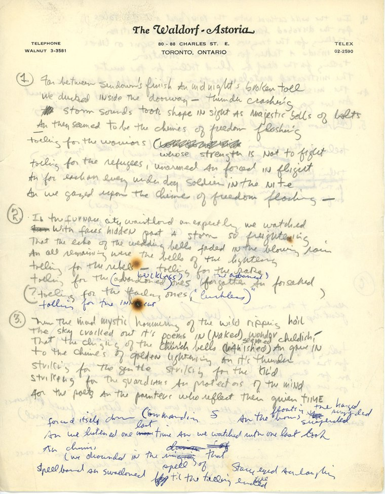 """""""Chimes of Freedom"""" lyrics scrawled on hotel stationery and dotted with cigarette burns is an example of the vast amount of information waiting got be unearthed and research waiting to be conducted."""