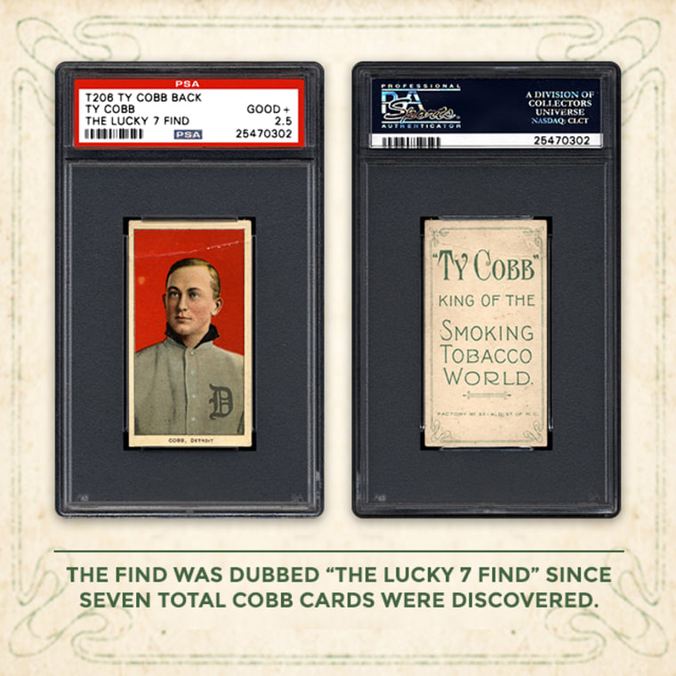 The front and back of a recently discovered T206 Ty Cobb baseball card.