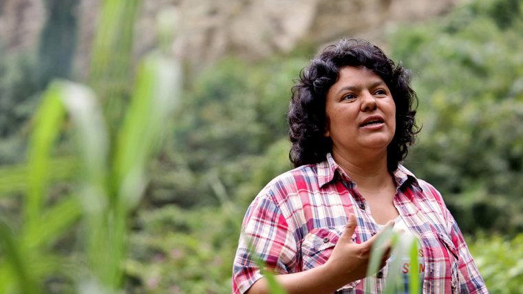 Berta Cáceres at the banks of the Gualcarque River in the Rio Blanco region of western Honduras.