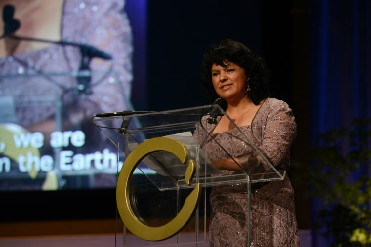 Berta Cáceres, 2015 Goldman Environmental Prize winner for South & Central America, giving her acceptance speech.