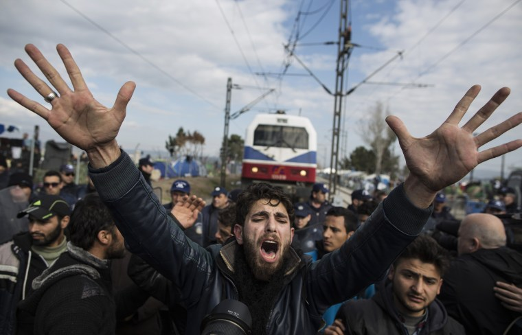 Image: *** BESTPIX *** Migrants Continue To Travel North From Athens To Macedonian Border