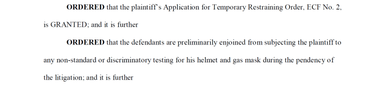 This excerpt, taken from Judge Beryl A. Howell's opinion, orders the Department of Defense to not submit Capt. Singh to non-standard testing until Singh's lawsuit is finished.