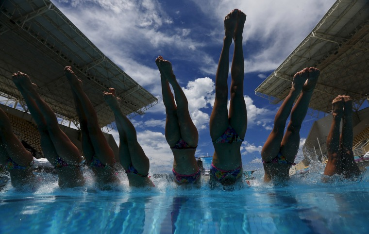 France's synchronized swimming team compete in an Olympic Games Qualification Tournament in Rio de Janeiro.