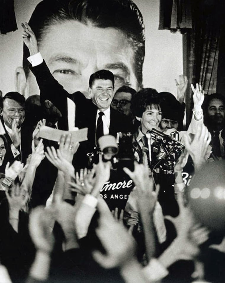 Image: Ronald Reagan and Nancy Reagan at the victory celebration for California governor