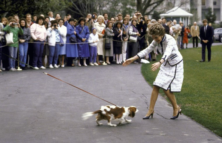 Image: First Lady Nancy Reagan greets her dog Rex after returning to the White House
