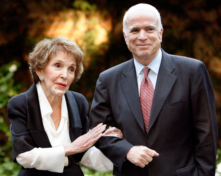 Image: Nancy Reagan speaks next to Republican presidential candidate John McCain