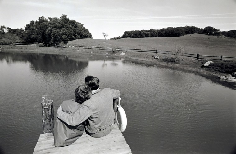 Image: President Ronald Reagan and first lady Nancy Reagan sit overlooking Lake Lucky at Rancho Del Cielo, Calif., on March 4, 1982.