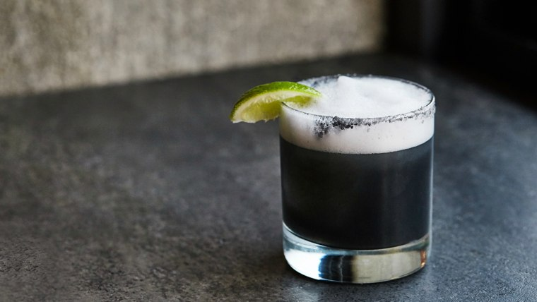 The Midnight Margarita made with activated charcoal at Venice Beach's Charcoal restauratn