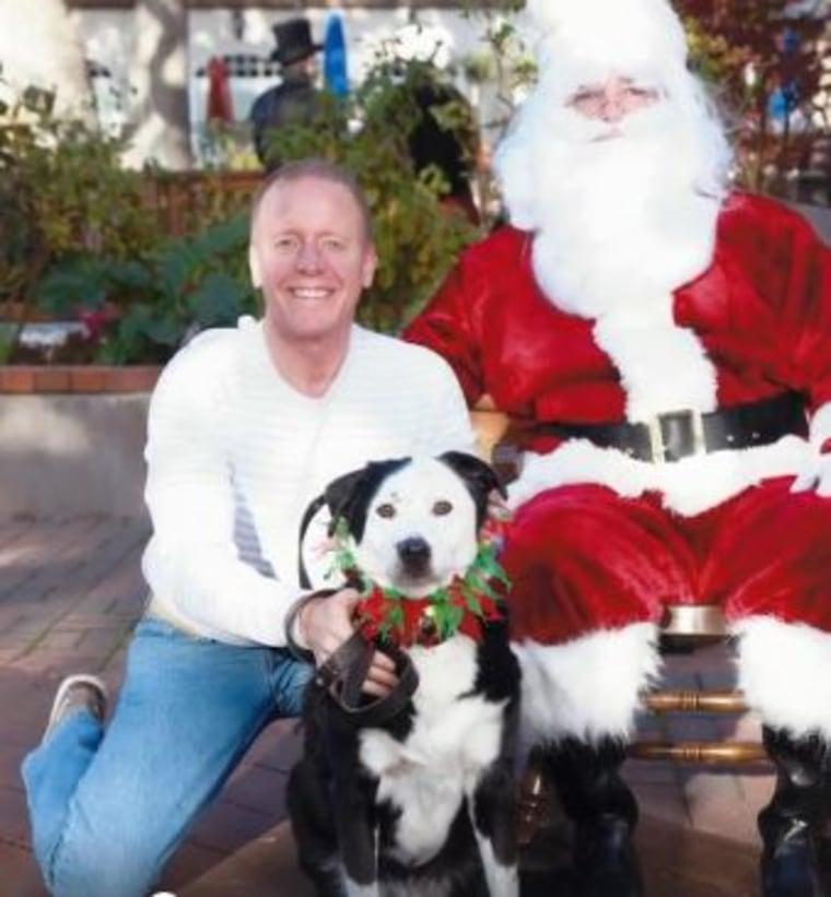 Eric O'Grey celebrating Christmas with Peety.