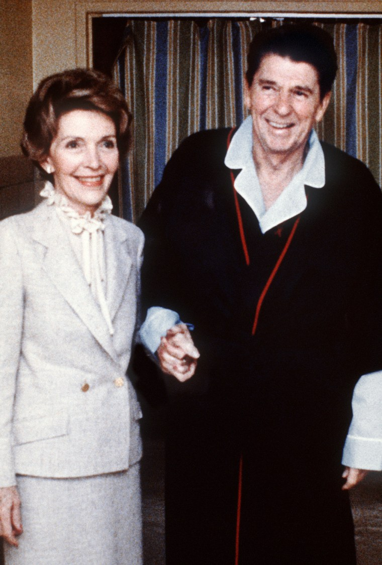Image: Nancy appears with her husband April 3, 1981
