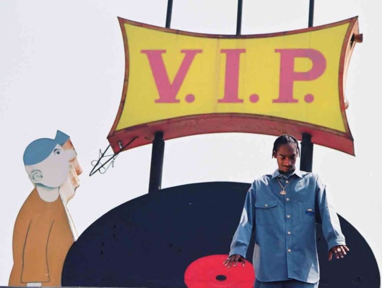 Rapper Snoop Dogg on top of V.I.P. Records.