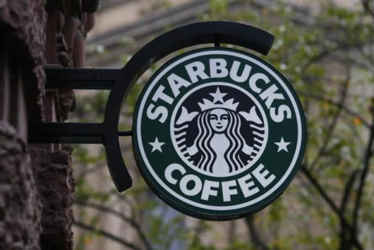 A Starbucks logo is pictured in Frankfurt