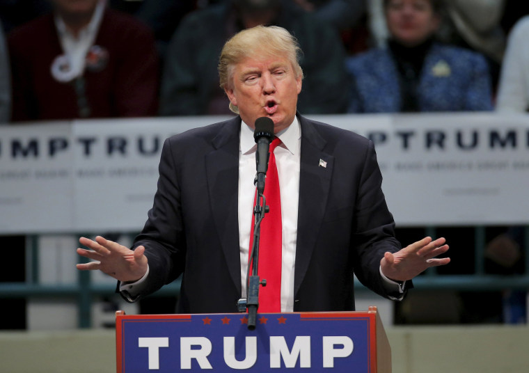 Image: File photo of U.S. Republican presidential candidate Trump speaking during a campaign event in Concord