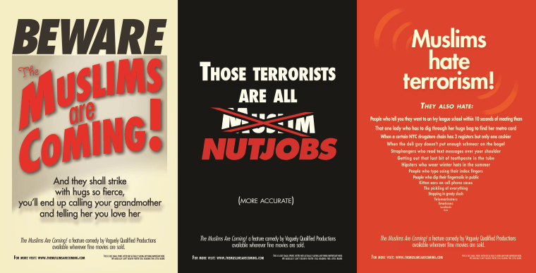 """Three of the six ads running in the New York City Subway promoting """"The Muslims Are Coming!"""", a film that follows Muslim-American comedians as they tour through the United States."""