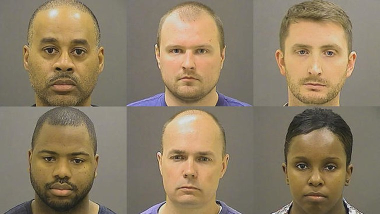Six Baltimore police officers were charged in the death of Freddie Gray but weren't convicted. From left to right, top row: Officer Caesar R. Goodson, Jr.; Officer Garrett E. Miller; Officer Edward M. Nero. Left to right, bottom row: Officer William G. Porter; Lt. Brian W. Rice; and Sgt. Alicia D. White.