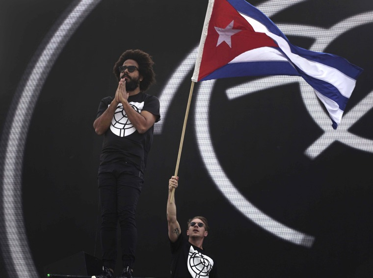 Image: Diplo of the U.S. electronic music group Major Lazer waves a Cuban flag